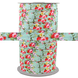 "Floral on Aqua 5/8"" Fold Over Elastic 100yd"