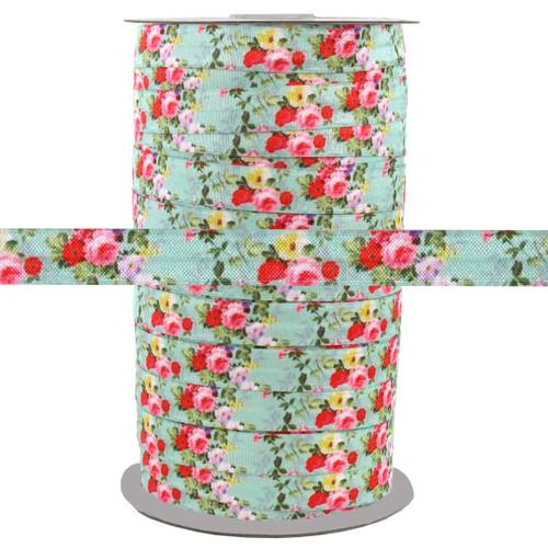 """Floral on Aqua 5/8"""" Fold Over Elastic 100yd"""