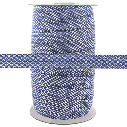 """Silver Scales on Navy 5/8"""" Fold Over Elastic 100yd"""