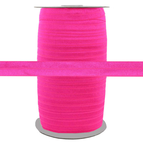 """Hot Pink Wholesale 5/8"""" Fold Over Elastic 100yd"""