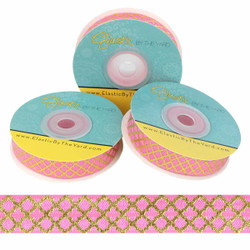 "Mini Gold Quatrefoil on Hot Pink 5/8"" Fold Over Elastic"