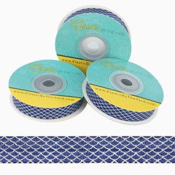 """Silver Scales on Navy 5/8"""" Fold Over Elastic"""