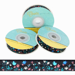 "Floral on Black 5/8"" Fold Over Elastic"