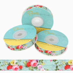 "Floral on Aqua 5/8"" Fold Over Elastic"