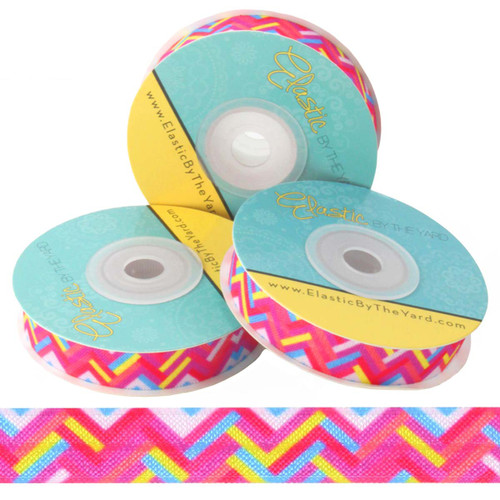 "Colorful Zig Zags 5/8"" Fold Over Elastic"