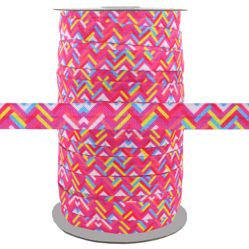 "Colorful Zig Zags 5/8"" Fold Over Elastic 100yd"