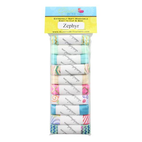 """Zephyr Print 10yd Multi Pack of Printed 5/8"""" Fold Over Elastic"""