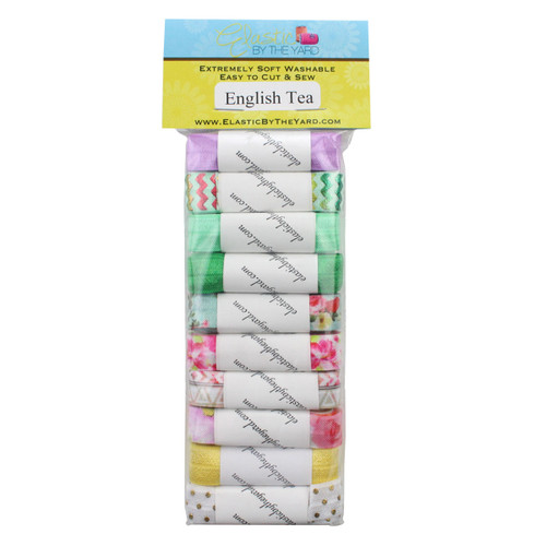 "English Tea Print 10yd Multi Pack of Printed 5/8"" Fold Over Elastic"
