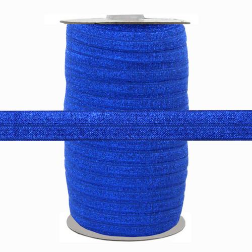 """Royal Blue Fairy Dust 5/8"""" Fold Over Elastic 100yd"""