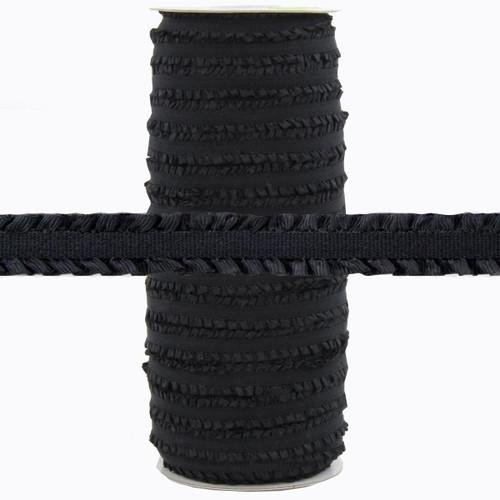 """Fringe Black 1/2"""" Fold Over Elastic 100yd"""