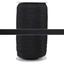 "Black Fairy Dust Glitter 5/8"" Fold Over Elastic 100yd"
