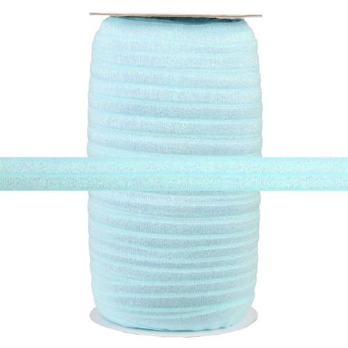 "Lite Blue Fairy Dust 5/8"" Fold Over Elastic 100yd"