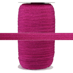 "Hot Pink Fairy Dust 5/8"" Fold Over Elastic 100yd"