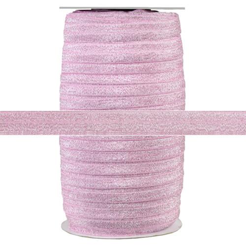 "Pink Fairy Dust 5/8"" Fold Over Elastic 100yd"