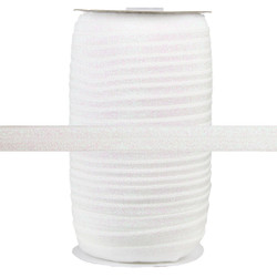 "White Fairy Dust 5/8"" Fold Over Elastic 100yd"