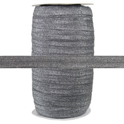 "Gray Fairy Dust 5/8"" Fold Over Elastic 100yd"