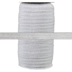 "Silver Fairy Dust 5/8"" Fold Over Elastic 100yd"