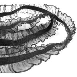 Black Double Ruffle - 1/4 inch Elastic Width - 15/16 total Width - Flat Elastic