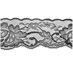 Black Flower Lace - 60mm - Lace Elastic