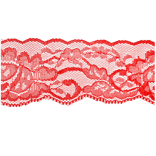 CRANBERRY Red Flower Lace - 2 inch - Lace Elastic