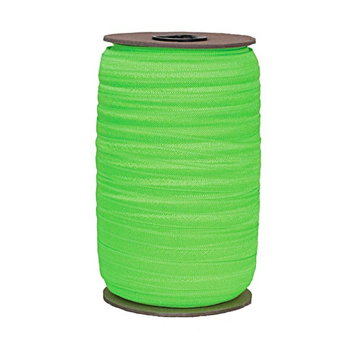 """Neon Green Wholesale 7/8"""" - 22mm Fold Over Elastic 100yd (L-1IN-GREEN-100)"""