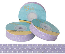 Lilac with Silver Metallic Dots Fold Over Elastic