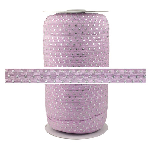 Lilac Silver Dots Fold Over Elastic 100yd