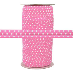 """Pink Gladiolus with White Polka Dots 5/8""""  Fold Over Elastic 100yd"""