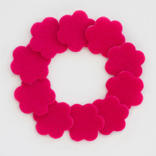 "1 1/4"" Hot Pink Adhesive Felt Flowers 10 Pack"