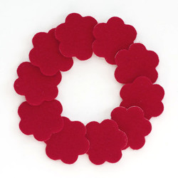 "1 1/4"" Red Adhesive Felt Flowers 10 Pack"