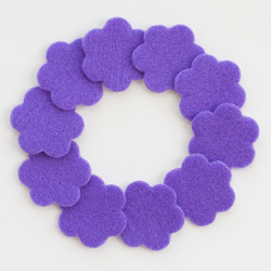 "1 1/4"" Purple Adhesive Felt Flowers 10 Pack"