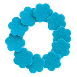 "1 1/4"" Teal Adhesive Felt Flowers 10 Pack"