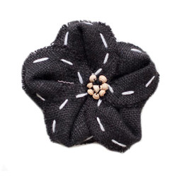 Maggie  Black Linen Flower