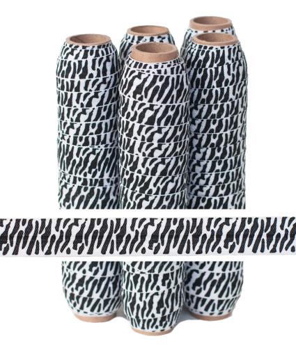 White Zebra Print Fold Over Elastic