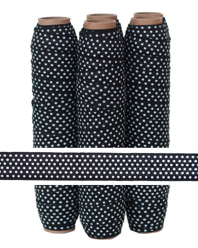 Black with Small White Polka Dots Fold Over Elastic