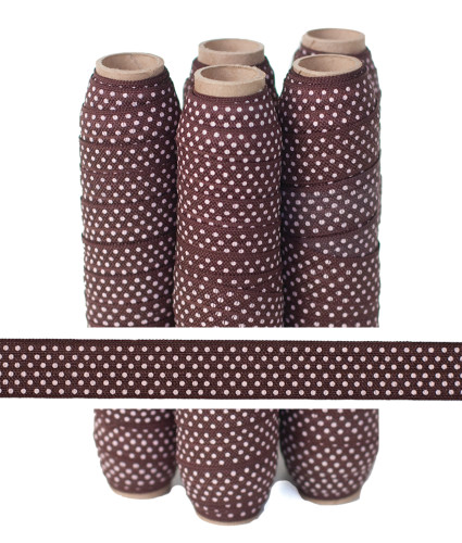 Brown with Small Pink Dots Fold Over Elastic