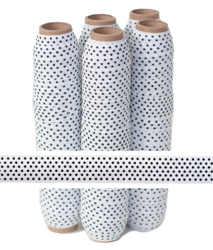 White with Black Polka Dots Fold Over Elastic