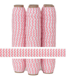 Peachy Pink Chevron Print Fold Over Elastic