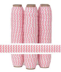 Peachy Pink Chevron Print Fold Over Elastic