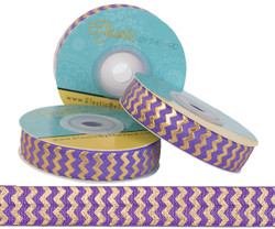 Purple with Gold Metallic Chevron Fold Over Elastic