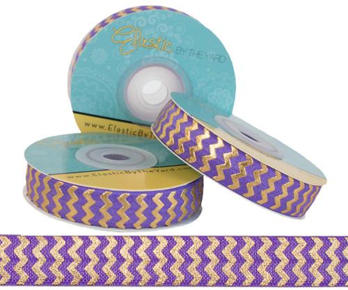 Purple with Gold Metallic Chevron Fold Over Elastic