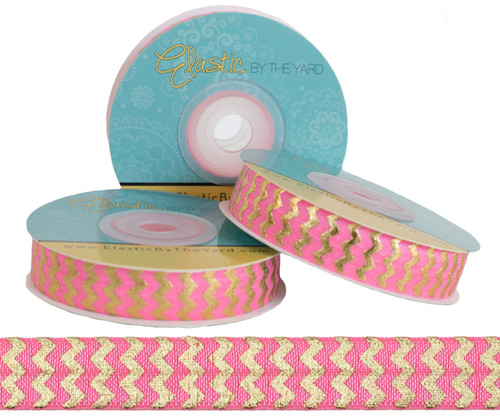 Pink with Gold Metallic Chevron Fold Over Elastic
