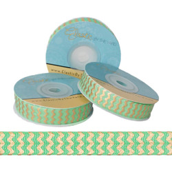 Lime with Gold Metallic Chevron Fold Over Elastic