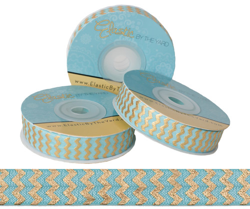 Aqua with Gold Metallic Chevron Fold Over Elastic