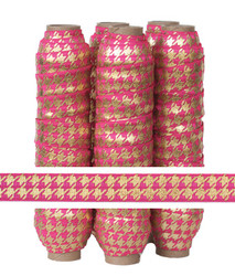 Pink with Gold Metallic Houndstooth Fold Over Elastic