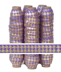 Purple with Gold Metallic Houndstooth Fold Over Elastic