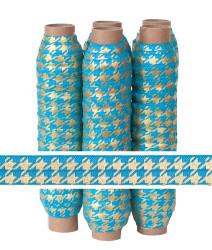 Blue with Gold Metallic Houndstooth Fold Over Elastic