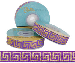 Purple with Gold Metallic Maze Fold Over Elastic
