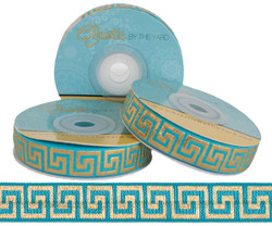 Teal with Gold Metallic Maze Fold Over Elastic