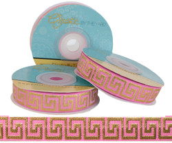 Pink with Gold Metallic Maze Fold Over Elastic